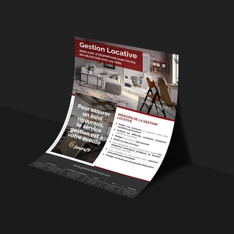 Goyard & Associés, agence immobilière, flyer gestion locative, création graphique et impression par Globellie Lausanne