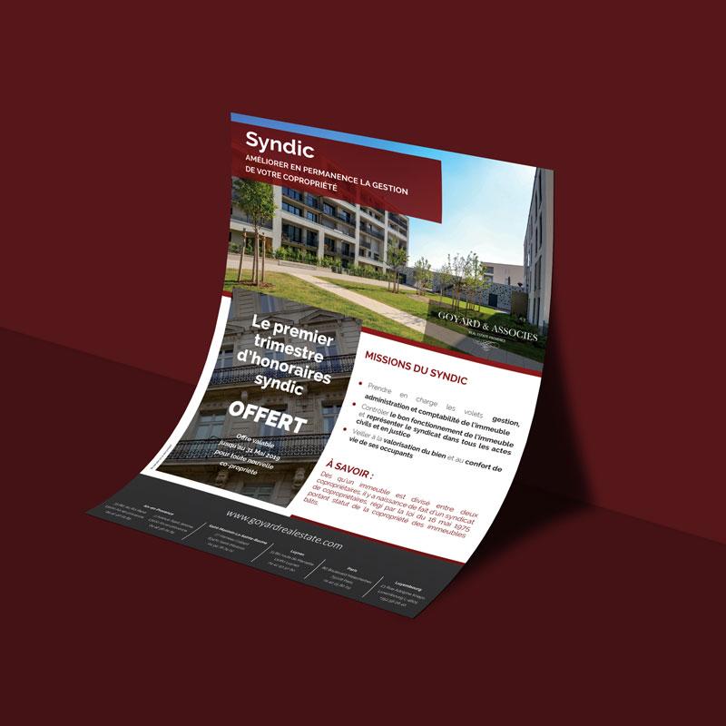 Goyard & Associés, agence immobilière, flyer Syndic, création graphique et impression par Globellie Lausanne