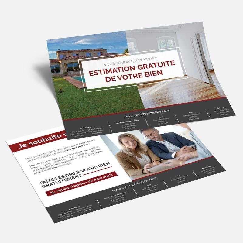 Goyard & Associés, agence immobilière, flyer Estimation gratuite de votre bien, création graphique et impression par Globellie Lausanne