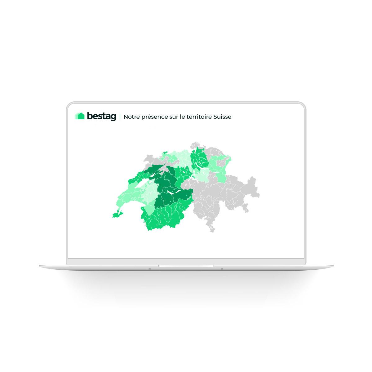 création graphique carte territoire suisse bestag